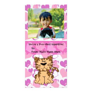 Purr-fect Cat Personalized Girl's Kids Valentine Custom Photo Card