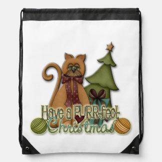 PURR-fect Christmas Drawstring Backpack
