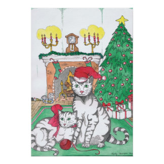 Purr fect Christmas Poster Print