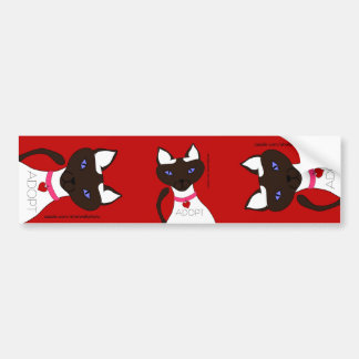 Purr-fect Moira ADOPT Red 3-way Bumper Sticker