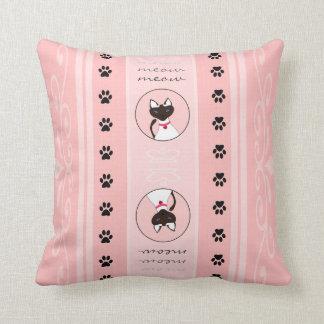 Purr-fect Moira Pink Stripe Pillow Square