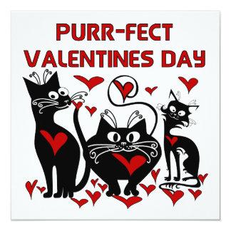 """Purr-fect Valentines Day 5.25"""" Square Invitation Card"""