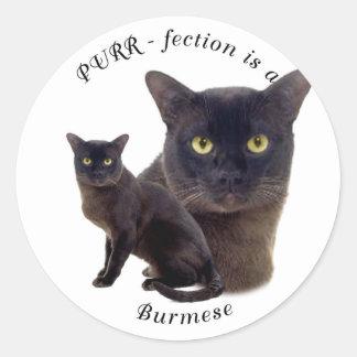 PURR-fection Brown Burmese Round Sticker