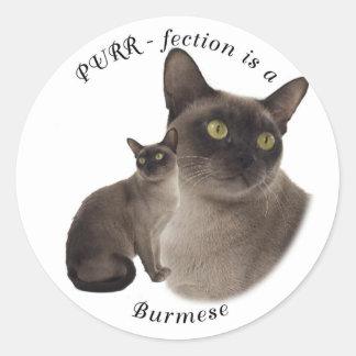 PURR-fection Chocolate Burmese Round Sticker