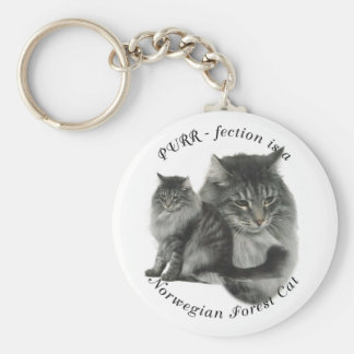 PURR-fection Norwegian Forest Cat Basic Round Button Key Ring