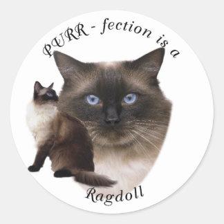 PURR-fection Ragdoll Classic Round Sticker
