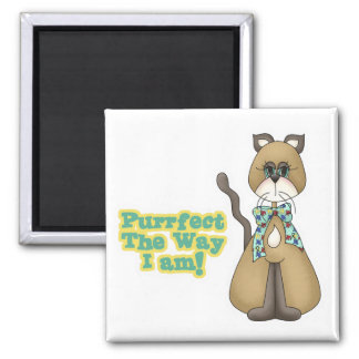 Purrfect Autism Awareness Kitty Cat Square Magnet