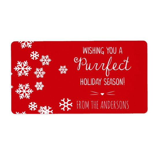 Purrfect Cat Theme Holiday Greetings Shipping Label