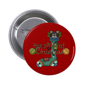 Purrfect Christmas Stocking Cat 6 Cm Round Badge