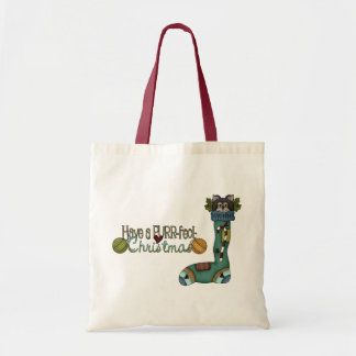 Purrfect Christmas Stocking Cat Budget Tote Bag