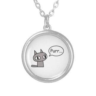 Purring Cat Round Pendant Necklace