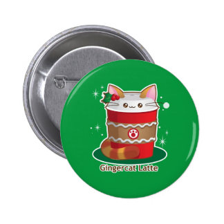 Purrista Pawfee: Cute Holiday Ginger Cat Coffee 6 Cm Round Badge