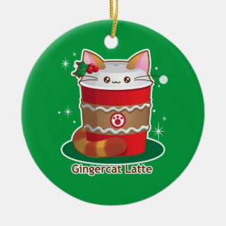 Purrista Pawfee: Cute Holiday Ginger Cat Coffee Christmas Ornament