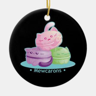 Purrista Pawfee: Cute Kitty Cat Macarons Round Ceramic Decoration