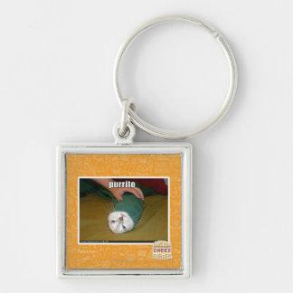 purrito Silver-Colored square key ring