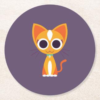 Purrl the Cat Round Paper Coaster