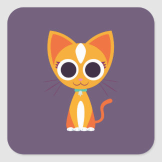 Purrl the Cat Square Sticker