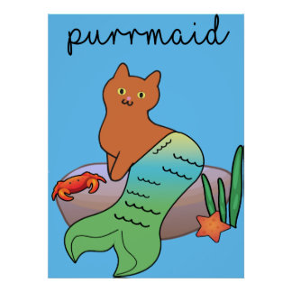 Purrmaid, Funny Ocean Cat Poster