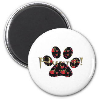 Purrr! Cat Paw Print With Hearts Fridge Magnets