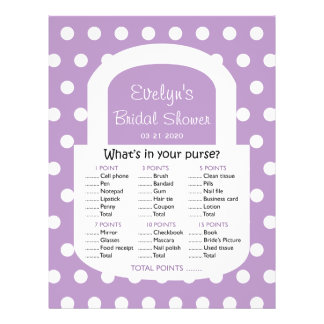 Purse Bridal Shower Game - African Violet 21.5 Cm X 28 Cm Flyer