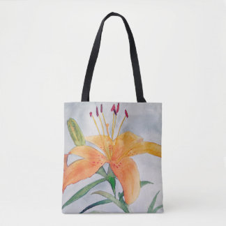 Purse with iris watercolor orange tote bag
