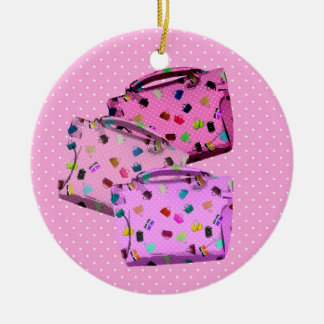 Purses, Polka Dots and Pink Background Christmas Ornament