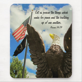 Pursue Peace American Flag and Eagle Mouse Pad