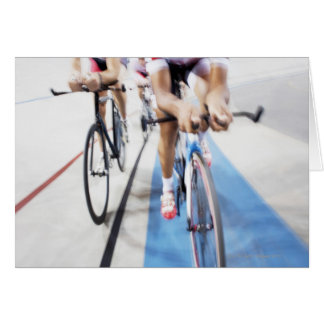 Pursuit cycling team in action greeting card