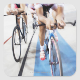 Pursuit cycling team in action square sticker