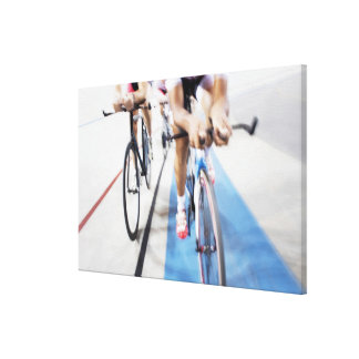 Pursuit cycling team in action stretched canvas prints