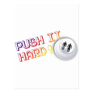 Push It Hard - Arcade Button Video Game Gamer Postcard