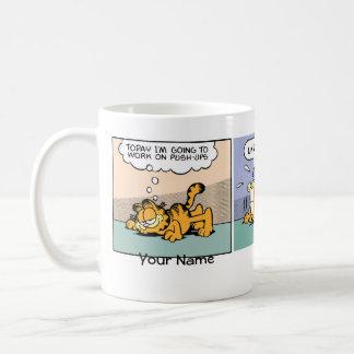 """Push-Ups"" Garfield Comic Strip Basic White Mug"