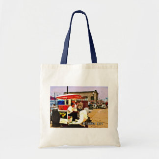 Pushcart on the boardwalk budget tote bag