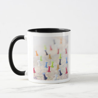 Pushpins in a map 2 mug