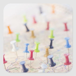 Pushpins in a map 2 square sticker