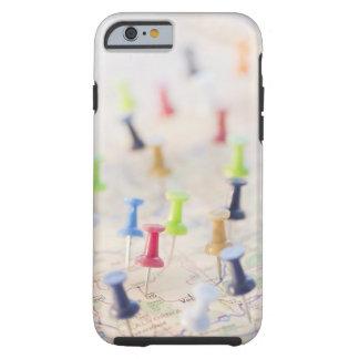 Pushpins in a map 2 tough iPhone 6 case