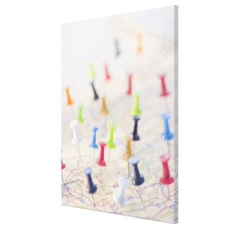 Pushpins in a map canvas print