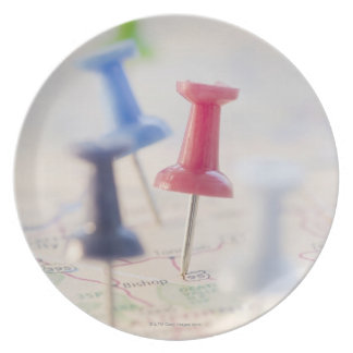 Pushpins in a map plate