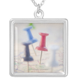 Pushpins in a map silver plated necklace