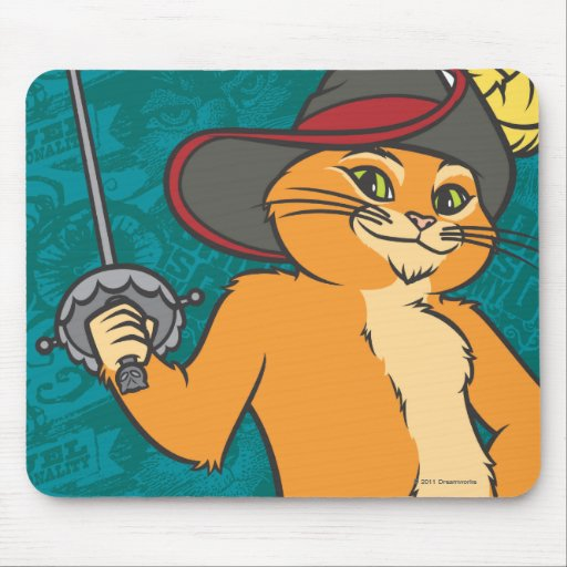 Puss Brandishes Sword Mousepads
