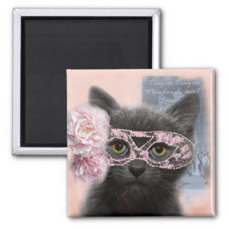 Puss in a mask square magnet