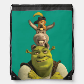 Puss In Boots, Donkey, And Shrek Drawstring Bag
