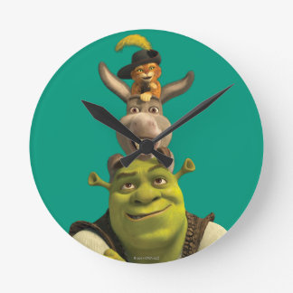 Puss In Boots, Donkey, And Shrek Round Clock