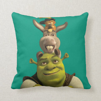 Puss In Boots, Donkey, And Shrek Throw Pillow
