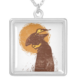 Puss In Boots Silhouette Silver Plated Necklace