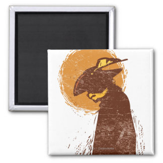 Puss In Boots Silhouette Square Magnet