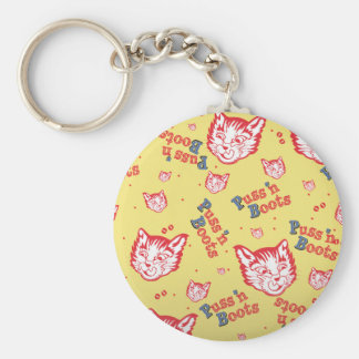 Puss n Boots Brand Basic Round Button Key Ring