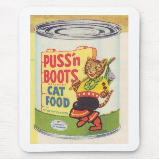 Puss' N Boots Cat Food Vintage Retro Brand Mouse Pad