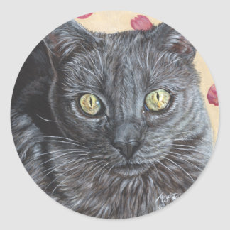 PussPuss Russian Blue Cat Original Painting Art Round Stickers