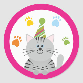 Pussy Cat Party Stickers/Envelope Seals Round Sticker